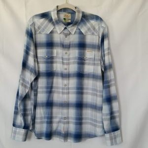 Lucky Brand Western Shirt L Blue Plaid Pearl Snap